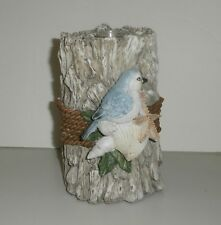 Driftwood Tea Light Candle Holder with Shells and Bluebird