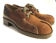 Vintage Mid Century Westeens Boys Size 2 M Brown Leather Suede Oxfords Shoes