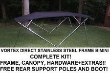 "New listing New Black Vortex Stainless Steel Frame Bimini Top 8 Ft Long, 97-103"" Wide"