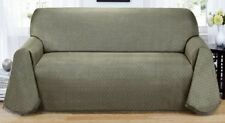 "MATRIX  GREY / GREEN ""NON-SLIP""  SOFA COUCH 3 SEATER THROW COVER-TIME TO BUY"