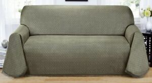 "MATRIX  ""NON-SLIP"" GREY/GREEN EXTRA LONG SOFA COUCH COVER-TIME TO SPRUCE UP"