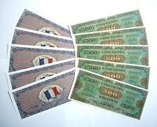 "SET DE 10 BILLETS - 500 Francs ""Allied Military Currency"" (REPRODUCTION)"