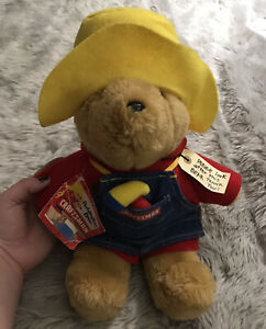 "Vintage Paddington Bear Sears Craftsman 15"" Plush Stuffed Teddy Bear Red Outfit"