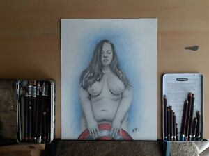Original 11x14 Inch Pencil/Colored Pencil Drawing Of Nude Woman Captain America
