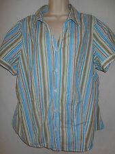St Johns Bay Blouse 2X Womens 18-20W Plus Shirt Top Turq Wh Green Stripes 6p41