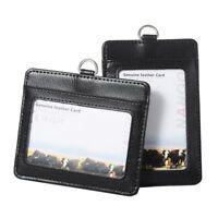 Id Badge Holder Unisex Genuine Leather Retractable Reel Bank Credit Cards Badges