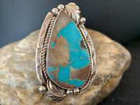 Mens Navajo Native American Sterling Silver Blue Royston Turquoise Ring S9 676