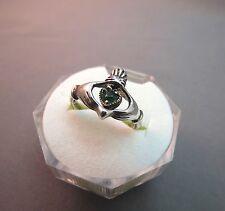 VTG Sterling Silver Claddagh Irish Ring SZ 7 Green Rhinestone Heart Hands 3.4g