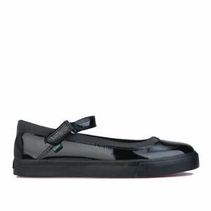 Women's Kickers Tovni Patent Leather Upper Hook and Loop Strap Shoes in Black