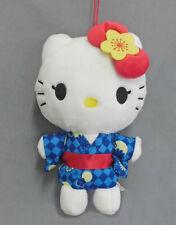 Eikoh Sanrio Hello Kitty Blue Yukata Kimono Keychain Plush 16cm E72717 US Seller