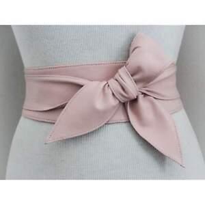 TJD Genuine Leather Obi waist Belt ladies wide waistband self tie wrap band