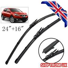 """Front Windscreen Flat Wiper Blades Set For Nissan Qashqai J10 2007-2013 24"""" 16"""""""