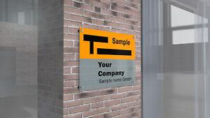 Firmenschild - Außenbereich mit Abstandshaltern Hängeschild Werbung Werbeschild