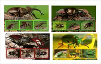 STAG BEETLE FLY INSECT BUGS 8 SOUVENIR SHEETS MNH UNPERFORATED