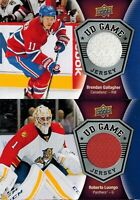 Upper Deck 2016/17 Series 1: Lot of 2 UD Game Jersey Cards: Luongo / Gallagher