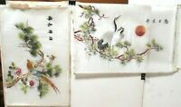 PAIR OF JAPANESE SILK BIRDS ON BONSAI TREE EMBROIDERY TAPESTRY PAINTINGS SIGNED