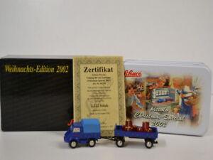 16 ) Schuco Piccolo Weihnachts-Edition 2002 MB Unimog 401 mit Anhänger 05274 OVP