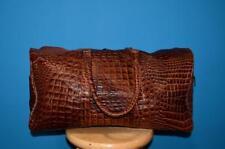 X-Large Brown Croco Embossed Leather Duffle Weekender Tote Travel Luggage Bag