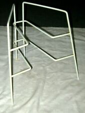 Vintage White Plastic Coated Wire Two Tier Cupboard Storage Plate Rack Stand
