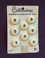 """*Vintage COSTUMAKERS Button Card Set 8 White Plastic Buttons 5/8"""""""