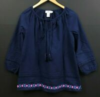 Vineyard Vines Woven Embroidered Top Deep Bay Blue Popover Tunic sz S Small
