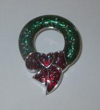 Guirnalda de Navidad Pin Plata Tono Verde Corazón Rojo Lazo NUEVO