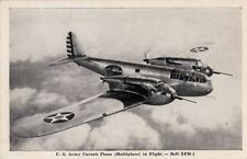 Postcard US Army Pursuit Plane Multiplace in Flight Bell XFM 1 Airplane