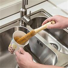Wood Handle Scrubbing Brush Coconut Fibre Kitchen Washing Cups Bottle Gadgets LG