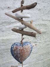Treibholzhänger Herz Girlande Treibholz Bali blau Handarbeit versandkostenfrei