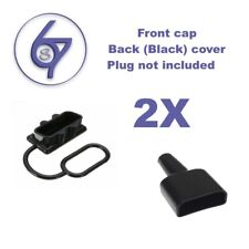 2 x DUST CAP COVER BLACK AND WATERPROOF SLEEVE BLACK FOR ANDERSON PLUG 50 AMP