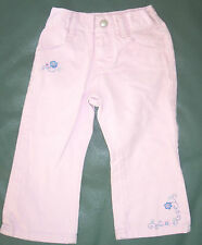 2T girls light pink 4-pocket jeans with blue embroidered flowers by Riders