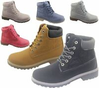 Womens Ankle Boots Combat Hiking Work High Top Desert Lace Up Shoes