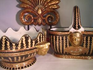 ORIENTAL ACCENT - Black & Gold Gilt Basket & Scalloped Bowl - Gold Face Accents!