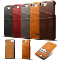 For iPhone XS MAX X 8 7 Plus Luxury PU Leather Slim Back Case Cover Card Pocket