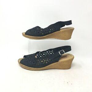 Spring Step Slingback Wedge Peep Toe Sandals Laser Cut Suede Black Womens 9