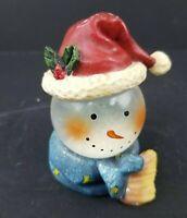 "Snowman Waterball Mini 3 1/2"" Snow Globe Snowman with a Scarf and Santa Hat"
