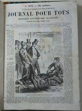JOURNAL POUR TOUS magazine littéraire illustré 2 vol. 1864 1866 Ch. Lahure