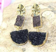 Natural Agate Druzy Earring Jewelry Gorgeous Gold Electroplated Brown & Black