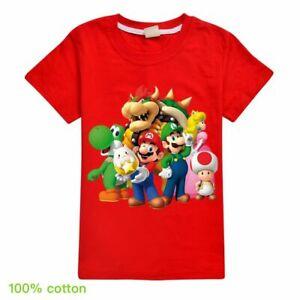 Super Mario Toad Bowser Boys Girls Kid Cotton Short Sleeve T-shirt Tops Tee Gift