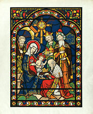 ADORATION OF THE MAGI Vtg c1940s-60's Vibrant Serigraph Holy Family & 3 Wise Men