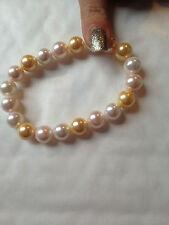 real genuine PEARL perldor multi bracelet pink champagne yellow new nice RRP £99