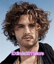 Fashion Short Toupee Blonde Highlight No Bang Fluffy Curly Capless Men Wig Hair