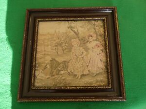 NICE ANTIQUE VINTAGE FRAMED EMBROIDERED ART PICTURE PRETTY COUNTRY GIRLS