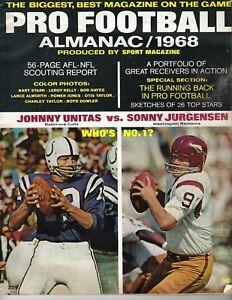 1968 Pro Football Almanac magazine,Jurgenson Redskins Johnny Unitas Colts VG