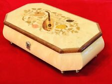 Vintage Swiss,Italy Cylinder Music Jewelry Box With Oak Case Hand Painted On It