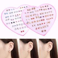 HOT 36 Pairs Fashion Women Crystal Diamante Flower Stud Earrings Jewelry Set