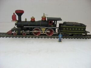 HO scale old time AT&SF 4-4-0 no.91 in black, red and brass by Rivarossi!  Nice!