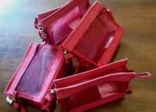 LAST SET!!! **NEW** LOT of 4 ~~~ RED MESH  ZIPPERED  COSMETIC BAGS