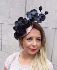 Rose Gold Black Sequin Orchid Flower Fascinator Hat Races Hair Clip Vintage 2723