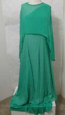 Vintage Green Chiffon Silk Angel Wing Sleeve Asy Hem Caftan ILGWU Label XL